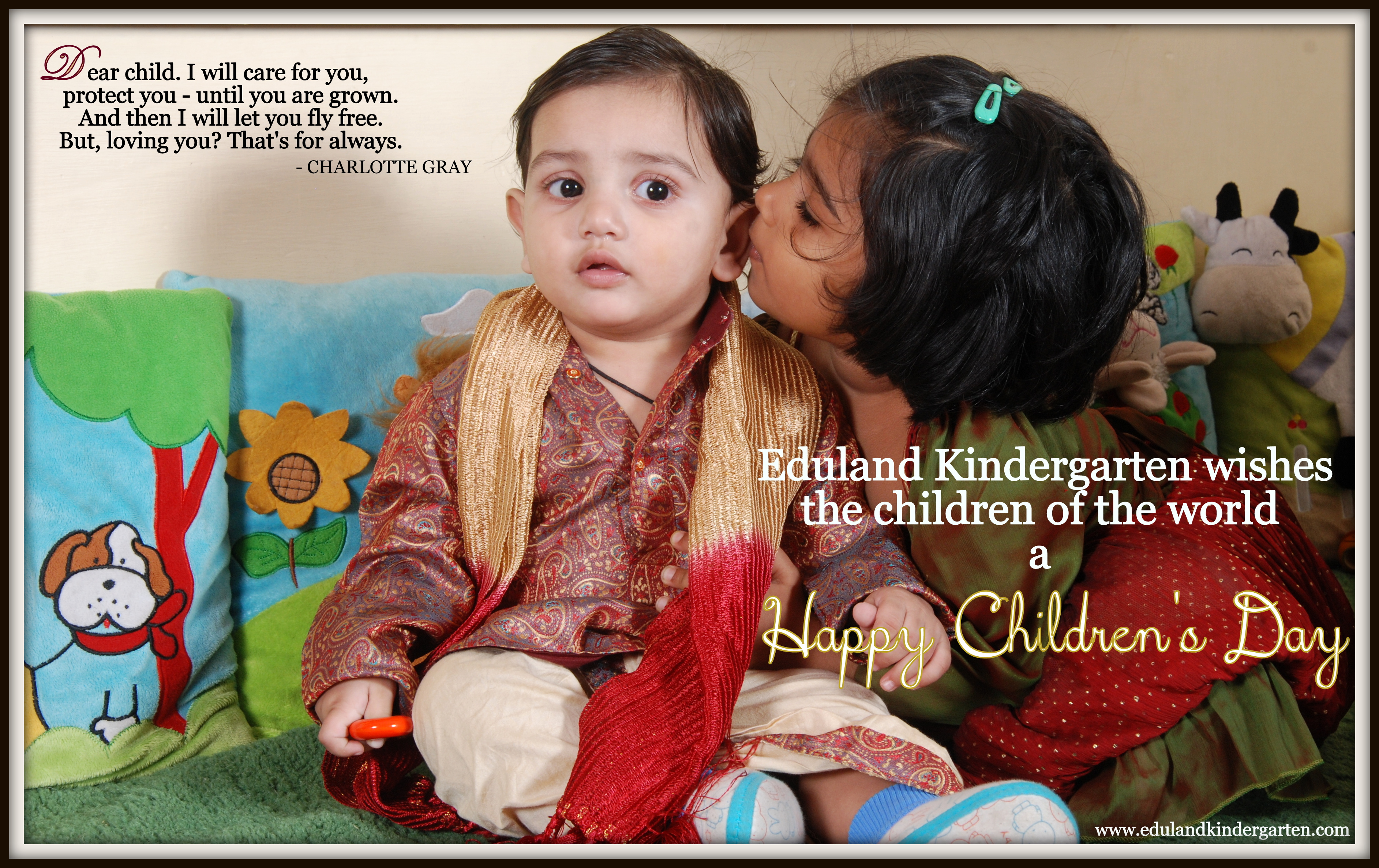 Childrens Day Greetings Eduland Kindergarten Chalkboard