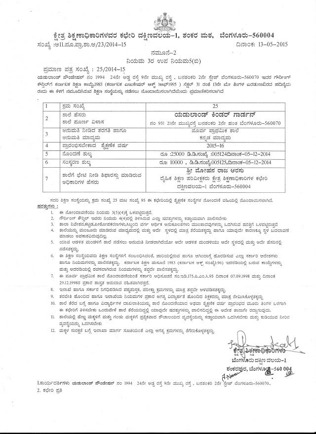 RTI_Eduland Kindergarten_Gov_Karnataka_Recognition